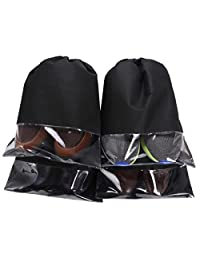 WODISON Non-Woven Travel Drawstring Shoes Bag Organizer with View Window 4-Pack Black