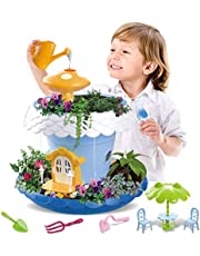 Vokodo Kids Magical Garden Growing Kit Includes Tools Seeds Soil Flower Plant Tree House Interactive Play Fairy Toys Inspires Horticulture Learning Great Gift for Children Girl Boy