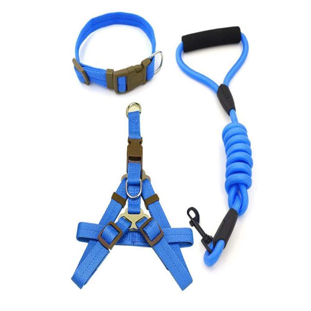 Medium PET COLLAR HOME Pet Dog Leash Chain Small Dog Leash Rope Hyena Rope Supplies Collar Chest Strap Set (Size   M)