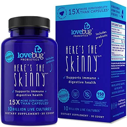 Probiotic and Prebiotic Digestive Health Supplement, Shelf Stable - with 10 Billion CFU, Contains lactobacillus gasseri, Turmeric - for Men & Women, 15x More Survivability (30)