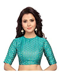 STUDIO SHRINGAAR Women's BENARAS Satin Brocade Readymade Saree Blouse with Jewel Neck and Elbow Length Sleeves