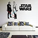 (71'' x 49'') Star Wars Vinyl Wall Decal / Obi Wan Kenobi & Anakin Skywalker with Lightsaber Die Cut Decor Self Adhesive Sticker + Free Decal Gift!