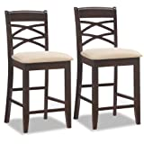 Leick Wood Double Cross Back Counter Height Stool with Beige Microfiber Seat, Set of 2