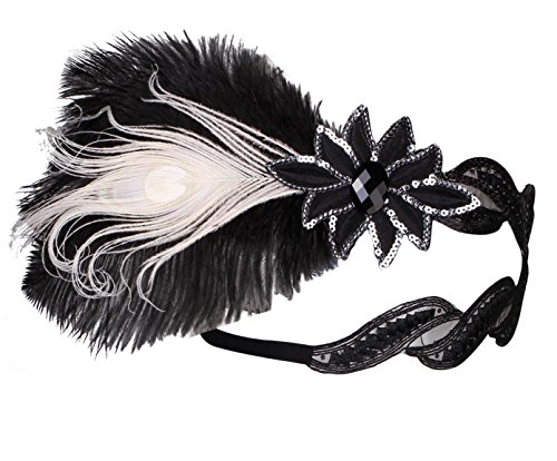 Zivyes 1920s Flapper Headband 20s Gatsby Headpiece Handmade Crystal Black Feather