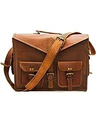 ABB Vintage Handmade Leather Messenger Bag for Laptop Briefcase Satchel Bag 18 INCH