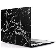 iDOO Marble Pattern Case for [ MacBook Air 13 inch ] (Model: A1369 and A1466 )- Matte Rubber Coated Hard Shell Cover - Black