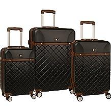 "Anne Klein Greenwich Three Piece Hardside Luggage Set (20""/24""/28""), Black"