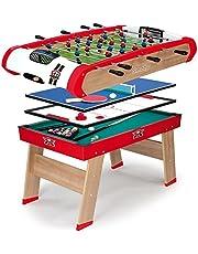Smoby - 640001 - BabyFoot - Powerplay 4 en 1 - BabyFoot - Ping -Pong - Hockey et Billard - Structure Bois - Accessoires Inclus