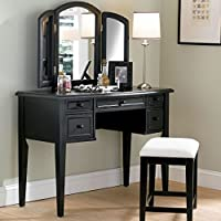 Powell Boulevard Antique Black Bedroom Vanity Set