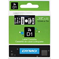 Genuine DYMO 1/2 (12mm) White on Black D1 Label Tape for Electronic Dymo LabelManager 160 Label Maker