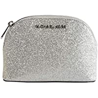 Michael Kors Silver Glitter Leather Jet Set Dome Cosmetic Pouch Bag