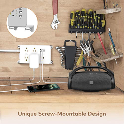 Power Strip Surge Protector, ETL Listed, TROND Flat Plug Outlet Extender with 5 Widely-Spaced Outlets and 3 USB Ports, 1300J, Wall Mountable 5ft Cord, for Computer Garage Kitchen Behind TV, White