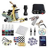 Professional Complete Tattoo Kit 1Top Machine Gun 4 Color Ink Needle Power Supply