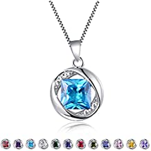 "Aurora Tears Birthstone Created-Topaz Pendant Necklace for Women 17.7"" Chain"