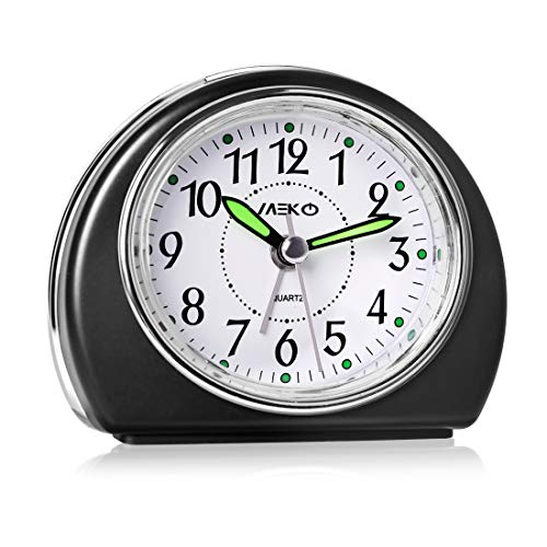 Alarm Clocks for Bedrooms, MEKO Small Battery Powered Travel Clock with Snooze and Nightlight, Silent No Ticking Bedside Clock(Black)