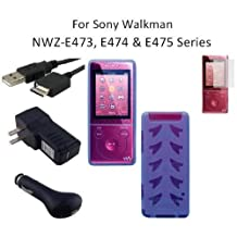 HappyZone Accessories Bundle Kit for Sony Walkman NWZ-E473, NWZ-E474 and NWZ-E475 MP3 Player: Includes (Blue) Soft Gel TPU Skin Case Cover, LCD Screen Protector, USB Wall Charger, USB Car Charger and 2in1 USB Cable