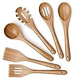 Wooden Kitchen Utensils Set - 6 Piece Non-Stick