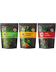 Ella SPICES Combo Pack - (Turmeric, Chilli & Coriander Powder) 100gms each | Cryogenically ground | Rich in Essential oils | Higher Aroma | 99% Microbial free | Preservative free | Healthy Spices