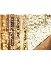 IDESION Cadena de luces 600 LEDs Cortinas de Luz Impermeable 6m * 3 metros Garland 8 Modos de Operación Luz para Decoración de Interiores,Exterior,Boda, Navidad,Fiesta (Blanco cálido)