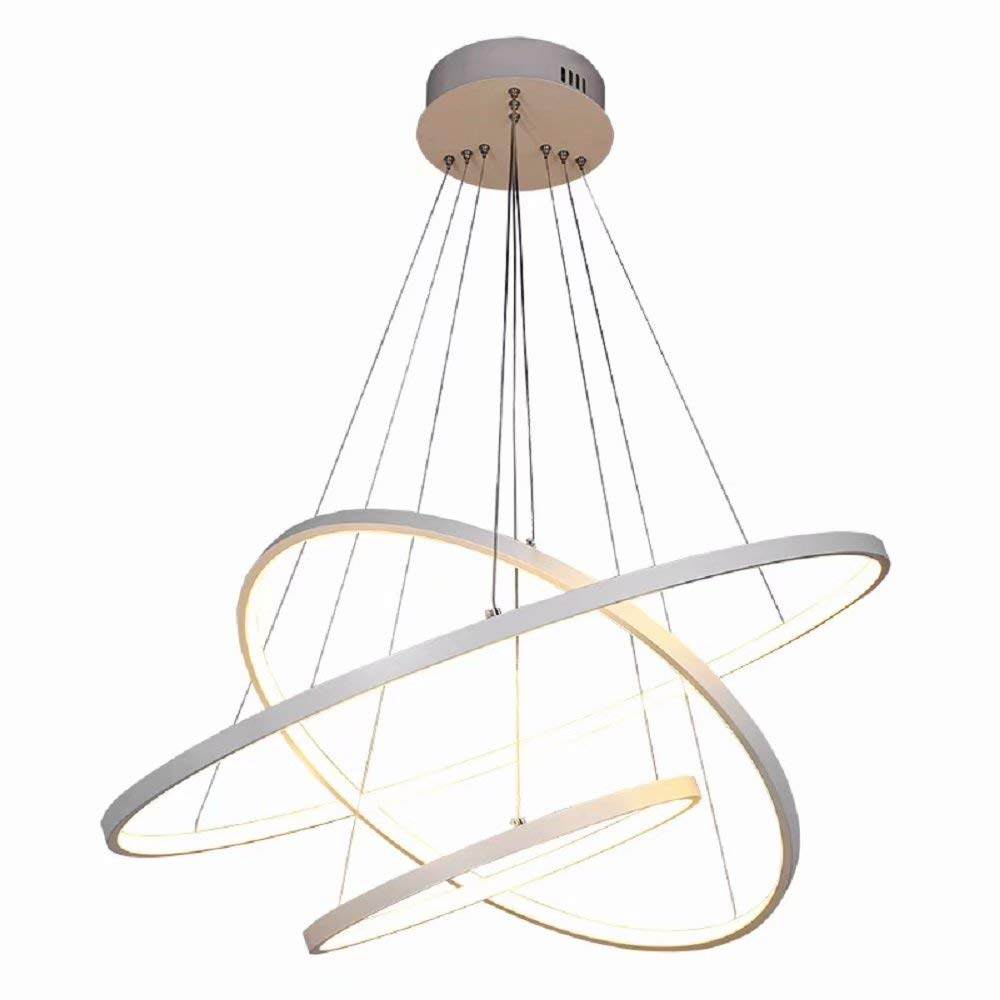 Modern LED Pendelleuchte, Dimmbar mit Fernbedienung, Esstisch Hängelampe,Minimalistische Hängeleuchte, Wohnzimmerlampe, Pendel, Esszimmerlampe, Esstischlampe, Schlafzimmer Decke Pendellampe D60cm Weiß , Dimmbar