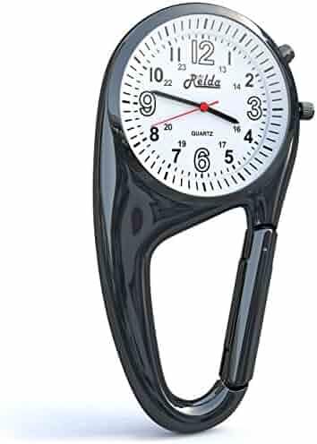 Relda Clip On Doctors Nurses Unisex Carabiner - Backlight Pocket Fob Watch REL03
