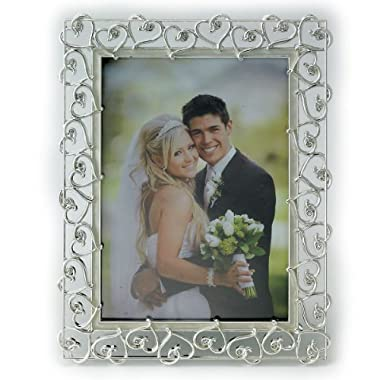 Lawrence Frames 5 by 7-Inch Silver Plated Metal Picture Frame, Open Heart Design with Crystals and Ivory Enamel