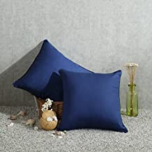 Venzhe 1pc Pure Cotton Canvas Pillow Cases Square Solid Color Zippered Throw Pillowcase Cushion Cover 18x18 Inch - Navy Blue