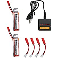 Holy Stone 5 In 1 Fast Battery Charger(Max Current 2.5A Input) with 2 x UDI 818A 3.7v 500mAh batteries