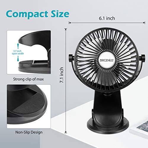 BRIGENIUS Battery Operated Clip on Stroller Fan, Portable Mini Desk Fan Rechargeable, USB Powered Clip Fan for Baby Stroller Office Outdoor Travel, Black