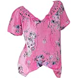 417e90228850e Sttech1 Plus Size Short Sleeve Tunic Top for Women, Women Retro Print Lace  Blouse Pullover