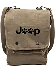 Army Force Gear Jeep Wrangler Cat Dog Paw Prints Canvas Crossbody Travel Map Bag Case