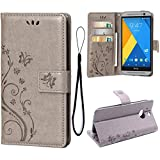 Wallet Case for HTC One M8, Embossed Butterfly Flower 3 Card Slots PU Leather Flip Cover Full Protective Stand Function Case For HTC One M8 (Grey)