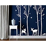Ainest Large Wall Birch White Tree Decal Deer Wall Stickers Home Decor Vinyl Nursery