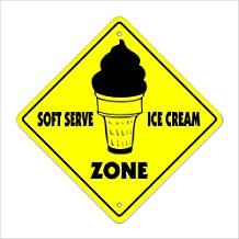 "Soft Serve Ice Cream Crossing Sign Zone Xing | Indoor/Outdoor | 12"" Tall dessert custard parlour"