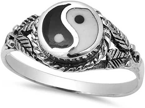Ancient Chinese Symbol Yin Yang .925 Sterling Silver Ring Sizes 4-12