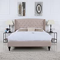 Classic Dark Beige Box-Tufted Shelter Bed Frame (Queen)