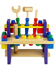 Herramientas Juguetes de Madera del Banco de Trabajo Bloques Construccion Taller Kit Herramientas Juegos Educativos para Niños 3 4 5 (Taller)