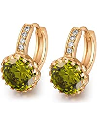 18K Yellow Gold Plated Jewelry 9mm Flower Round Topaz Zircon Drop Hoop Women Party Earrings Wedding - Green/Red...
