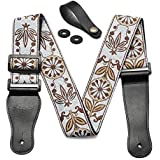 Guitar Strap with Genuine Leather Ends - Includes Strap Button & 2 Strap Locks, Vintage Woven Style Shoulder Strap For Guitarist - Bass, Electric & Acoustic Guitar (White/Brown)