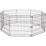 AmazonBasics Foldable Metal Pet Dog Exercise Fence Pen - 60 x 60 x 24 Inches