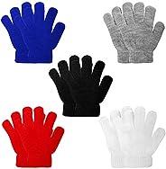 ONESING 5 Pairs Kids Gloves Kids Knit Gloves Winter Stretchy Knit Gloves Solid Finger Gloves for Girls Boys