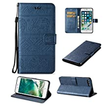 iPhone 7 Cute Elephant Pattern Case,[Stand Feature] [2 Card Slots] [Money Pocket] Synthetic Leather 4.7inch iPhone 7 Wallet Case with Screen Protector And Stylus Pen (Blue)