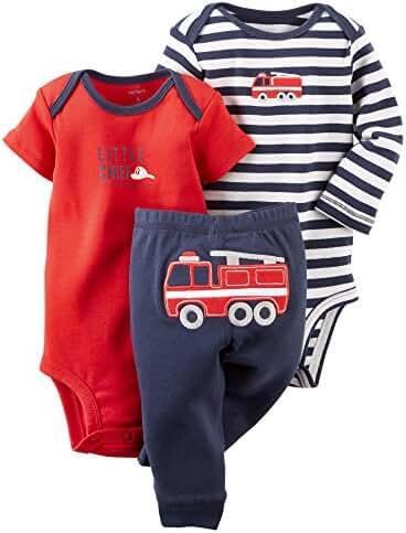 Carters Baby Boys 3-Piece Bodysuit & Pant Set Navy/Red Firetruck Preemie