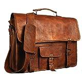 "leather bags Vintage Leather Messenger Soft Leather Briefcase Satchel Laptop 17"""