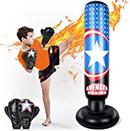 MutoToy Inflatable Punching Bag for Kids, 64 Inch Fitness Boxing Bag Stand with Gloves for Kids&Adults, To