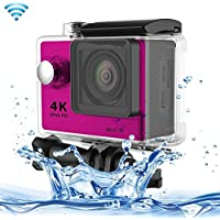 Professional Product Easy to Use H9 4K Ultra HD1080P 12MP 2 inch LCD Screen WiFi Sports Camera, 170 Degrees Wide Angle Lens, 30m Waterproof ( Color : Pink )
