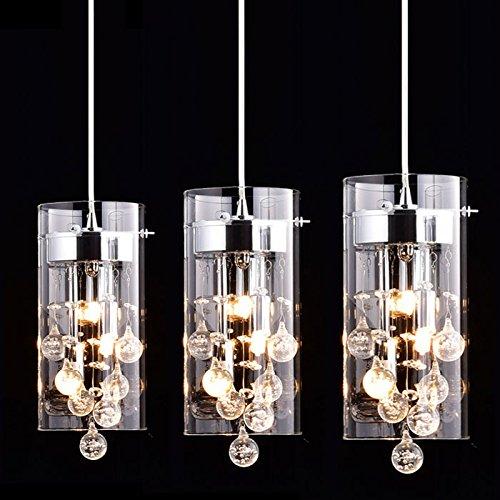 CLAXY Ecopower Lighting Glass & Crystal Pendant Lighting Modern Chandelier for Kitchen-3 Lights