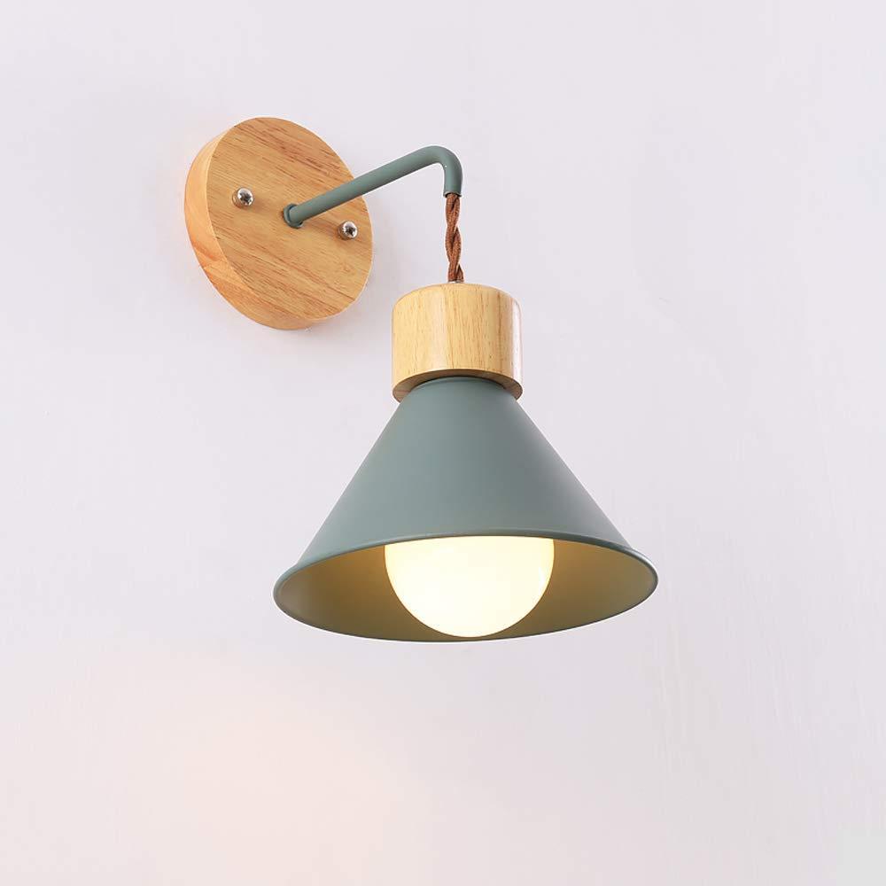 HBLJ  Nordic Macaron Schlafzimmer-Nachttischlampe Wandleuchte Kreative E27 Eisen-Wandleuchte Moderne minimalistische Massivholz-Hintergrund-Wand-Wohnzimmer-Lampen-Wand-Laternen-Scheinwerfer