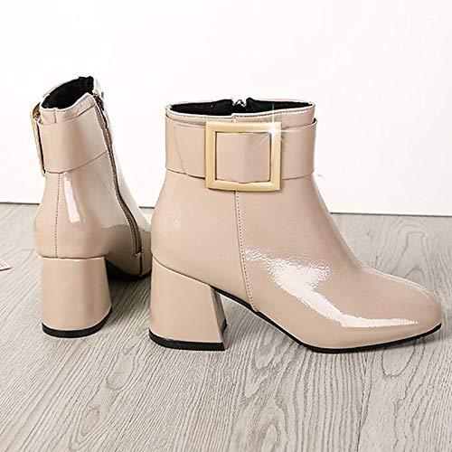 IWxez Damenmode Stiefel Stiefel Stiefel PU (Polyurethan) Winter Casual Stiefel Chunky Heel Mitte der Wade Stiefel Schwarz Beige Braun e51133