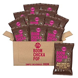 Angie's BOOMCHICKAPOP Dark Chocolaty Drizzled Sea Salt Kettle Corn Popcorn, 5.5 Ounce Bag (Pack of 12 Bags)